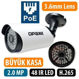 OPAX-6032P 2 MP 1080P POELİ  H.265 3.6mm Lens 48 IR Led IP Bullet