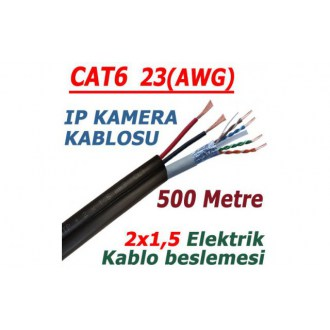 500 METRE CAT 6 23AWG FTP + 2x1.5mm DUAL CCTV PE NETWORK KABLOSU