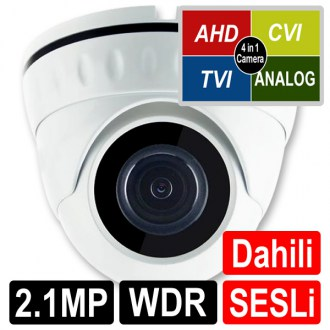 OPAX-1122 2 MP 1080P 4 in 1 HD 3.6mm Lens 18 Smart IR Led WDR Sesli AHD Dome Kamera