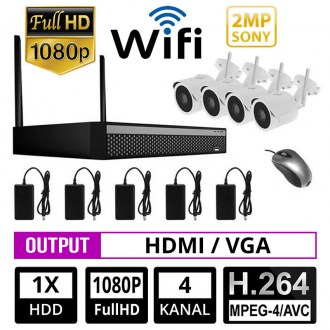 OPAX-12002 4 KANAL 2 MP 1080P IP NVR SONY CHIPSET WiFi 4 LÜ KAMERA SETİ