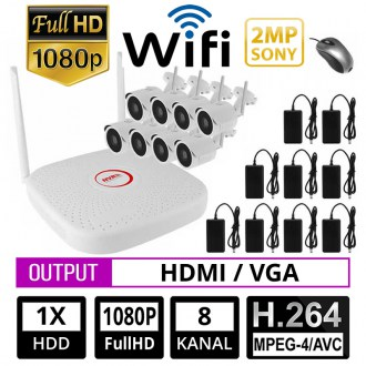 OPAX-12004 8 KANAL 2 MP IP 1080P NVR SONY WiFi 8 Lİ IP KAMERA SETİ