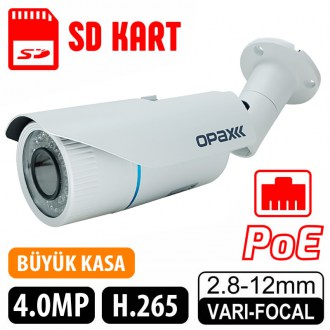 OPAX-2022 4 MP (2688x1520) H.265 2.8-12mm Lens 42 IR Led POE, SD Kart IP Bullet Kamera