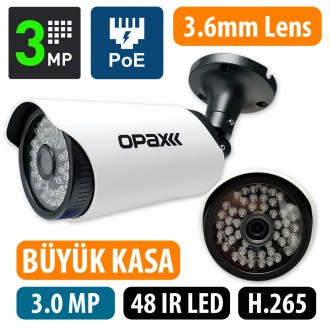 OPAX-6649P  POELİ 3 MP H.265 2304x1296 3.6mm Lens 48 IR Led POE IP 3516EV200+S03
