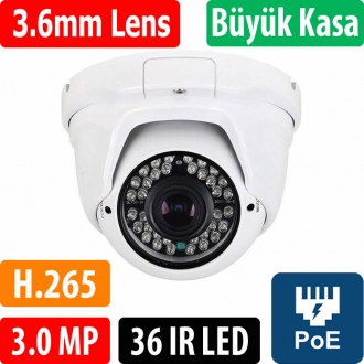 OPAX-7749P POE 3 MP 2304x1296 H.265 3.6mm Lens 36 IR Led Dome IP Kamera 3516EV200+S03